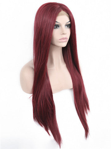 Long Rose Dark Wine Red Straight Synthetic lace front wig - FashionLoveHunter