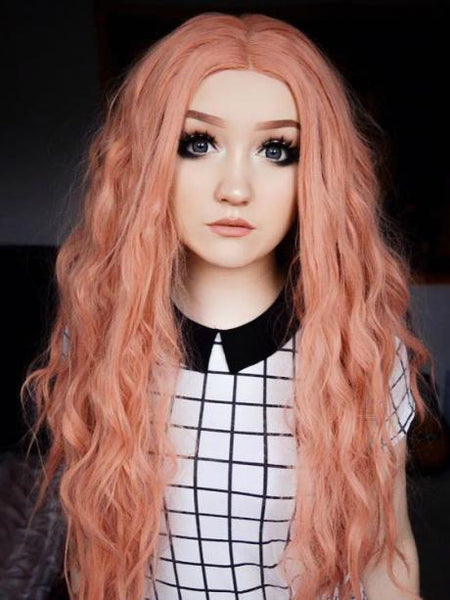 Long Salmon Peach Pink Curly Synthetic Lace Front Wig