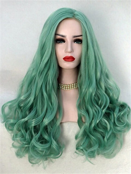 Long Sea Blue Wave Synthetic Lace Front Wig