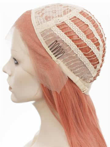 Long Shrimp Rose Synthetic Lace Front Wig - FashionLoveHunter