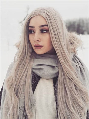 Long Silver Grey Straight Synthetic Lace Front Wig - FashionLoveHunter