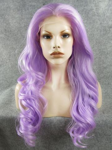 Long Silver Light Purple Wave Synthetic Lace Front Wig - FashionLoveHunter