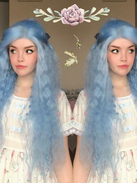 Long Sky Powder Blue Curly Synthetic Lace Front Wig