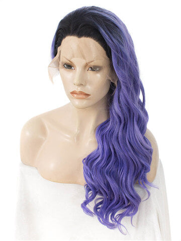 Long SlateBlue Ombre Deep Wave Synthetic Lace Front Wig