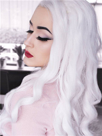 Long Snow White Body Wavy Synthetic Lace Front Wig - FashionLoveHunter