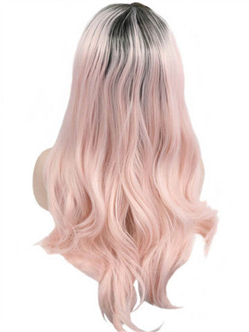 Long Soft Pink Sakura Ombre Synthetic Lace Front Wig - FashionLoveHunter