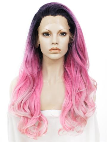 Long Splendid Pink To Blonde Ombre Wavy Synthetic Lace Front Wig - FashionLoveHunter