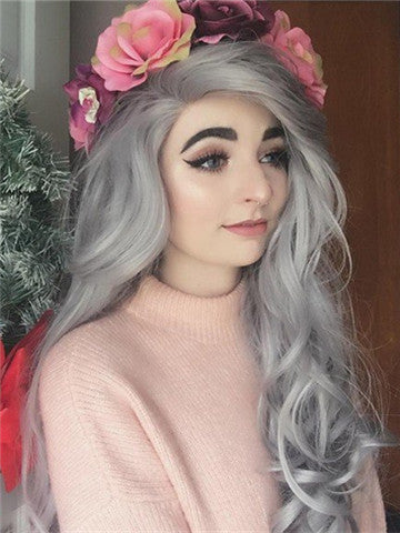 Long Star Grey Wavy Synthetic Lace Front Wig - FashionLoveHunter