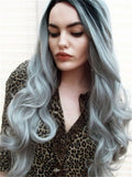 Long Stylish Enhancing Gray Ombre Wave Synthetic Lace Front Wig - FashionLoveHunter