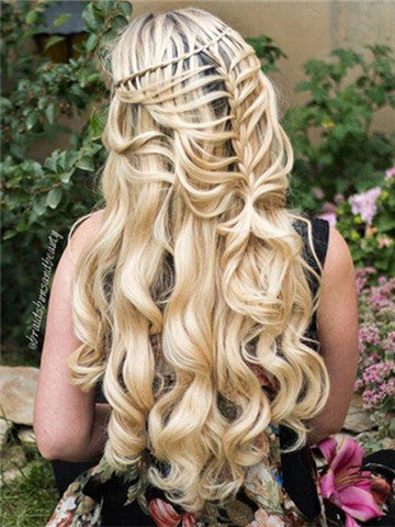 Long Sugar Cookie Gold Wave Synthetic Lace Front Wig - FashionLoveHunter