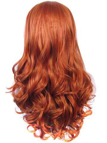 Long Sulphureus Copper Free-Part Wave Synthetic Lace Front Wig - FashionLoveHunter