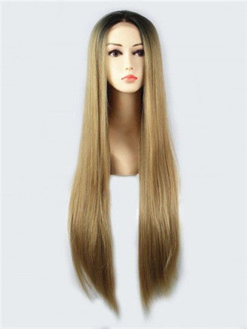 Long Sunshine Lemonade Ash Golden Synthetic Lace Front Wig - FashionLoveHunter