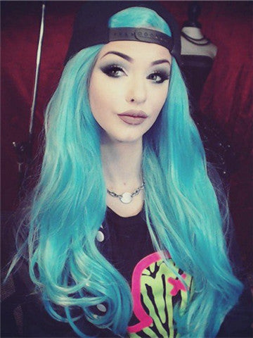 Long Turquoise Synthetic Lace Front Wig - FashionLoveHunter