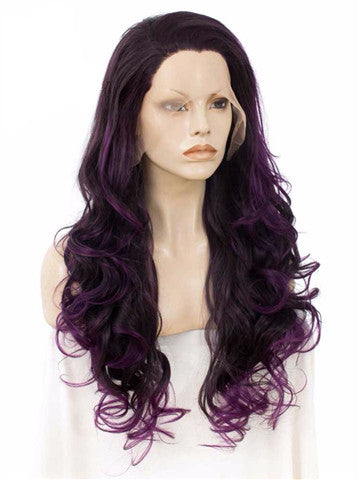 Long Eggplant Dark Purple Ombre Wavy Synthetic Lace Front Wig - FashionLoveHunter