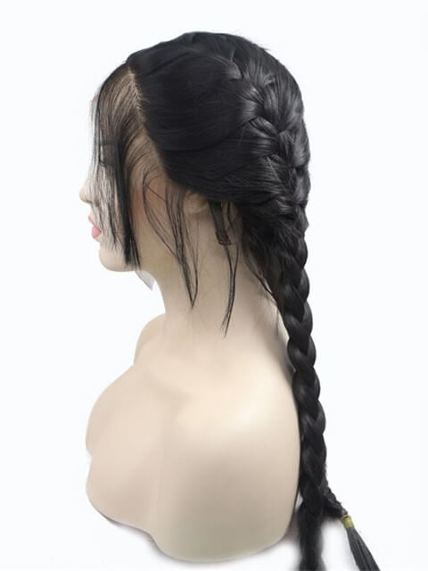 Long Two Twist Braids Black Synthetic Lace Front Wig