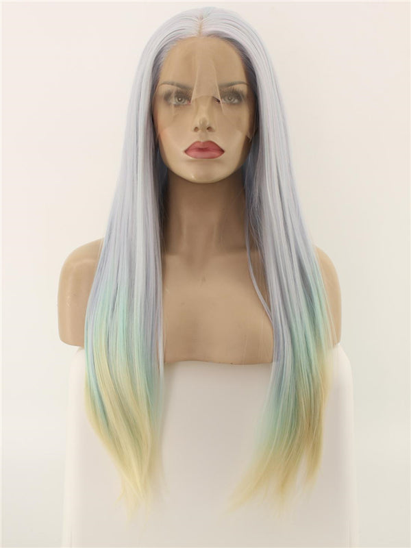 Long Unicorn Mix Color Straight Synthetic Lace Front Wig