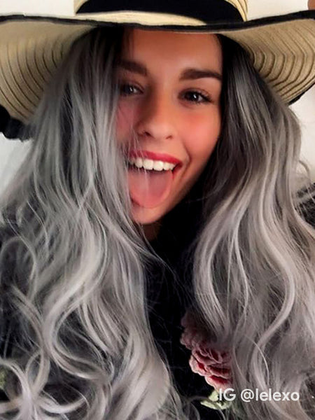 Long Wave Black To Grey Ombre Synthetic Lace Front Wig