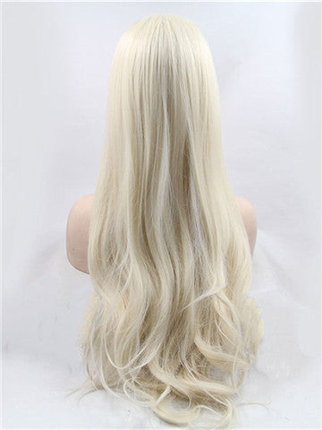Long White Blonde Becky Synthetic Lace Front Wig - FashionLoveHunter