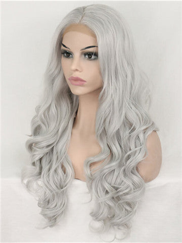 Long Young Silver Grey Wave Synthetic Lace Front Wig - FashionLoveHunter