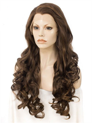 Loose Wave Brown Auburn Blend Long Synthetic Lace Front Wig - FashionLoveHunter