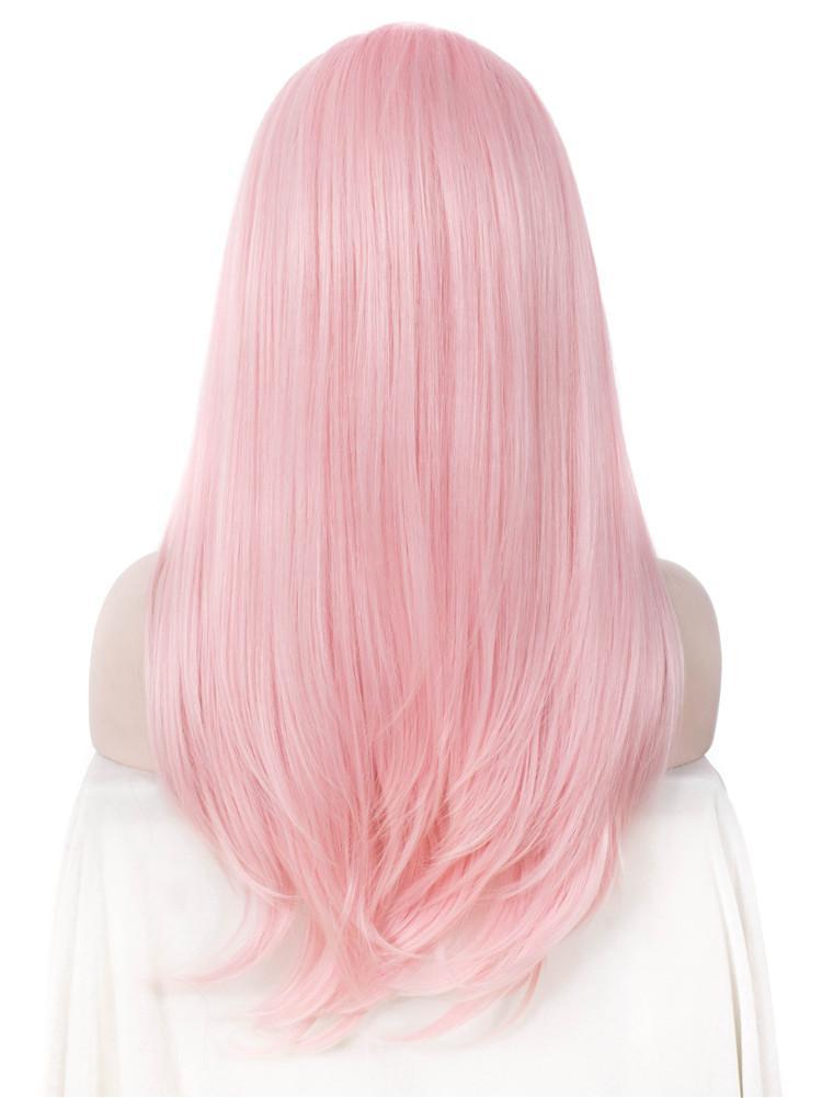 Long Straight Natural Pink Glueless Lace Front Wigs - Imstylewigs
