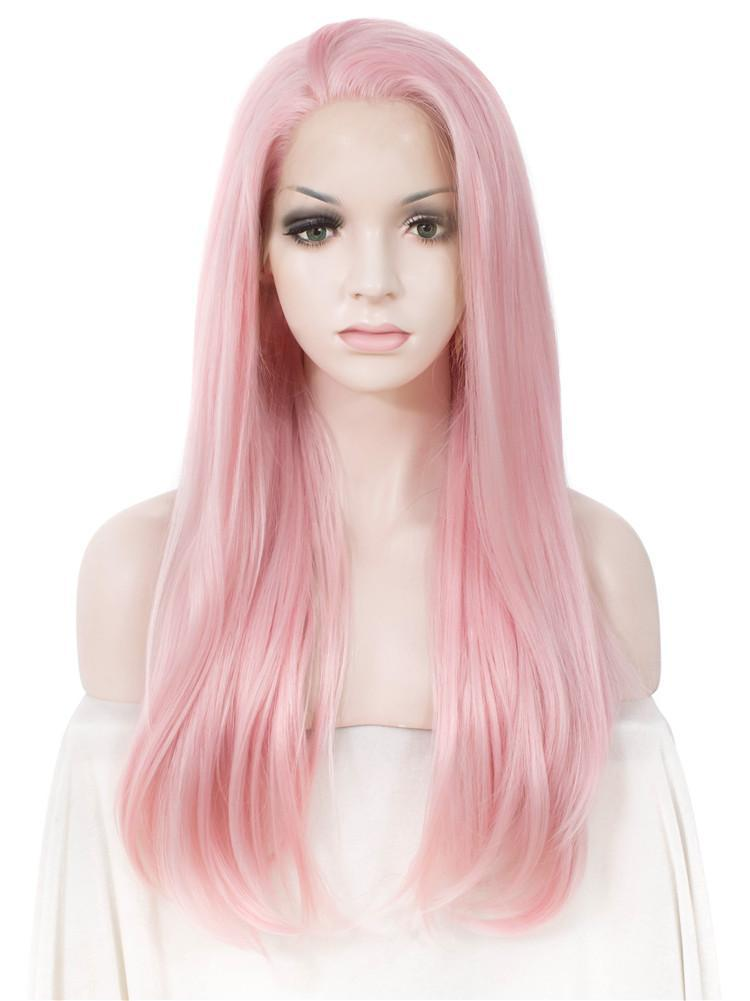 Long Straight Natural Pink Glueless Synthetic Lace Front Wigs - Imstylewigs