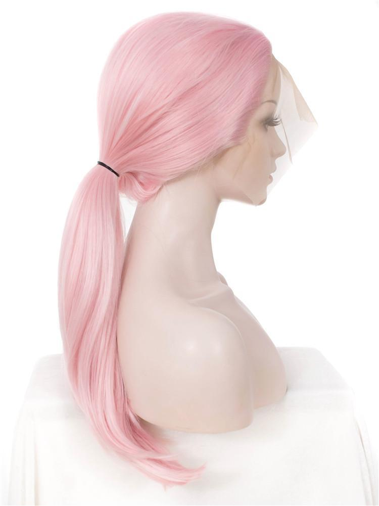Straight Natural Pink Synthetic Lace Front Wigs - Imstylewigs