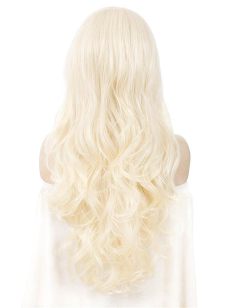 BLEACH BLONDE NATURAL WAVY FASHION Synthetic Lace Front Wig