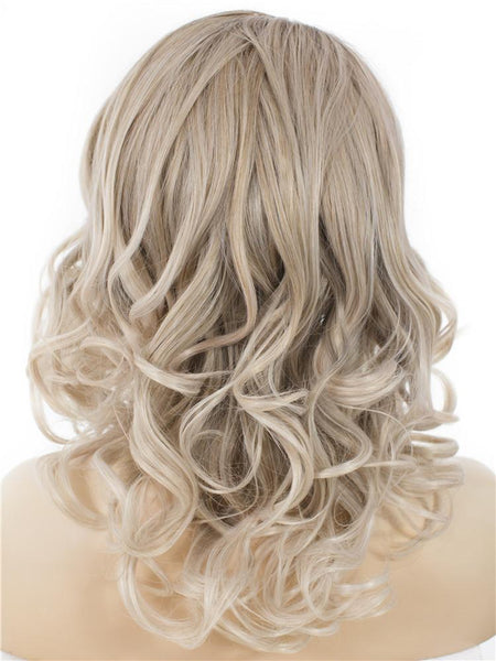 Balayage Blonde Short Wavy Synthetic Glueless Lace Front Wigs - Imstylewigs