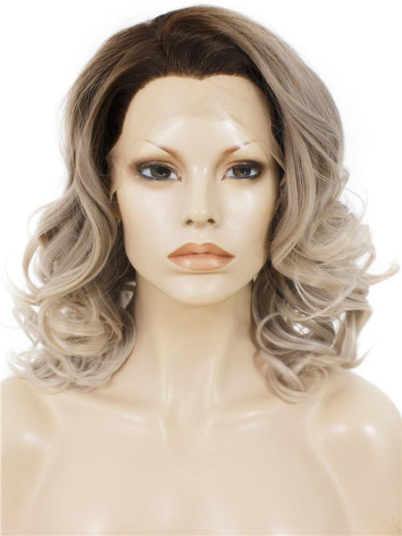 Balayage Blonde Short Wavy Synthetic Lace Front Wigs - Imstylewigs