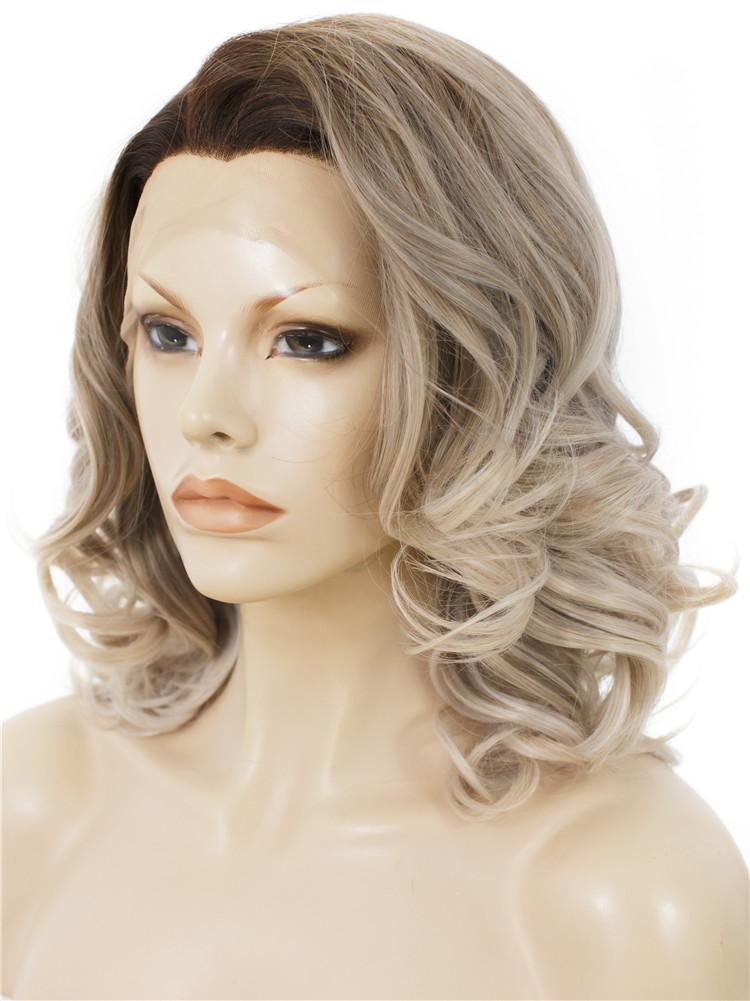 Balayage Blonde Short Wavy Lace Front Wigs - Imstylewigs