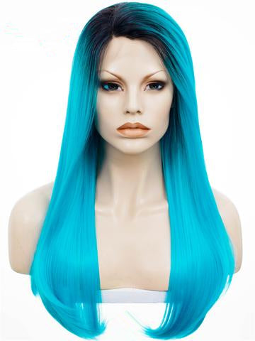 Magical Electric Blue Long Straight Synthetic Lace Front Wig - FashionLoveHunter