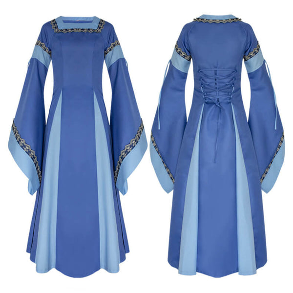 Medieval Square Collar Long Trumpet Sleeves Cosplay Dress