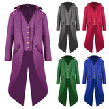Medieval Tuxedo Steam Punk Retro Men Cosplay Long Coat Dress Suit