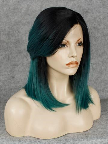 Medium Cymbidium Green Ombre Synthetic Lace Front Wig - FashionLoveHunter
