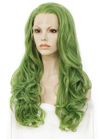 Mustard Eatage Green Wave Long Synthetic Lace Front Wig - FashionLoveHunter