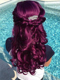 Mystique Reddish Purple Long Wave Synthetic Lace Front Wig - FashionLoveHunter