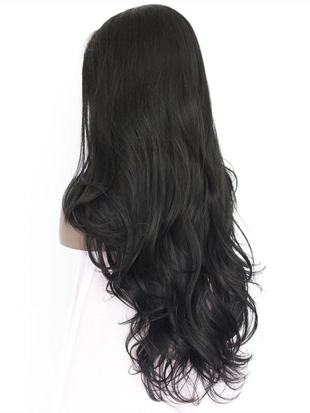 Long Black Magical Wave Cosplay Synthetic Lace Front Wig