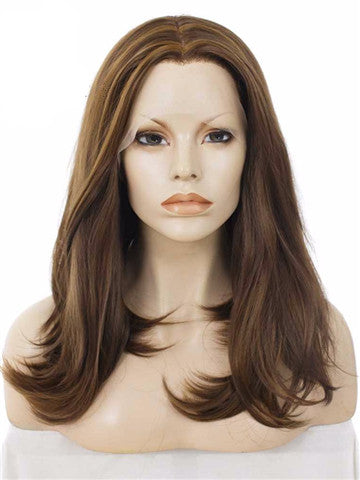 Natural Brown Shoulder Length Bob Synthetic Lace Front Wig - FashionLoveHunter