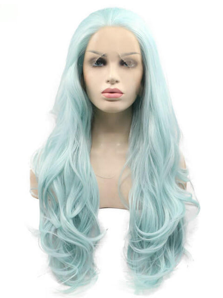 Long Turquoise Blue Wave Synthetic Lace Front Wig