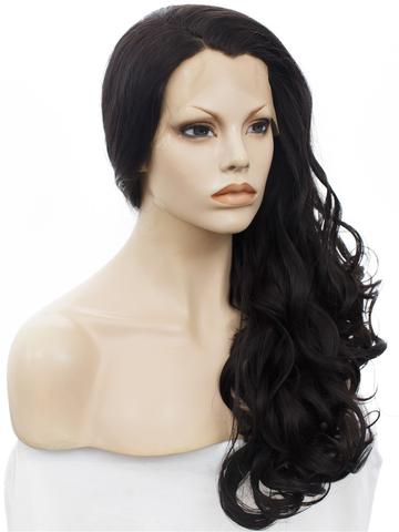 New Arrival Black Wavy Long Synthetic Lace Front Wig - FashionLoveHunter
