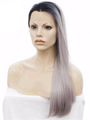 New Style Ombre Black To Grey Straight Synthetic Lace Front Wig - FashionLoveHunter