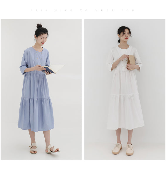 spring new Korean version of the Japanese fresh round neck short-sleeved solid color dress