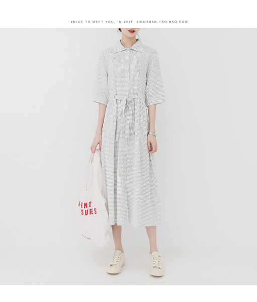 summer new Korean version of the small fresh sweet plaid short-sleeved dress