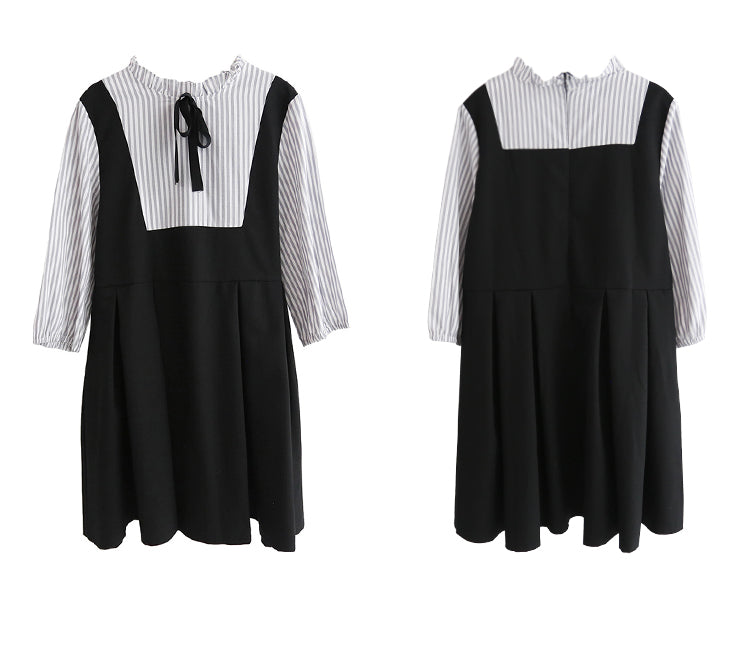 spring and summer new Korean version of the black fake two-piece strap bow dress