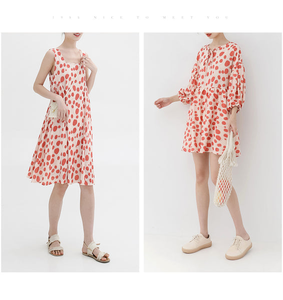 spring new Korean version of the Japanese cute red wave point loose dress children