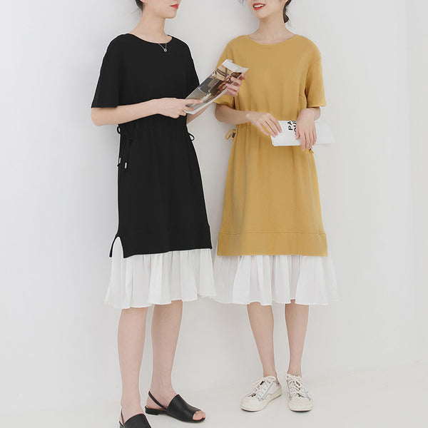 spring and summer new Korean version of the Japanese small fresh fake two-piece dress