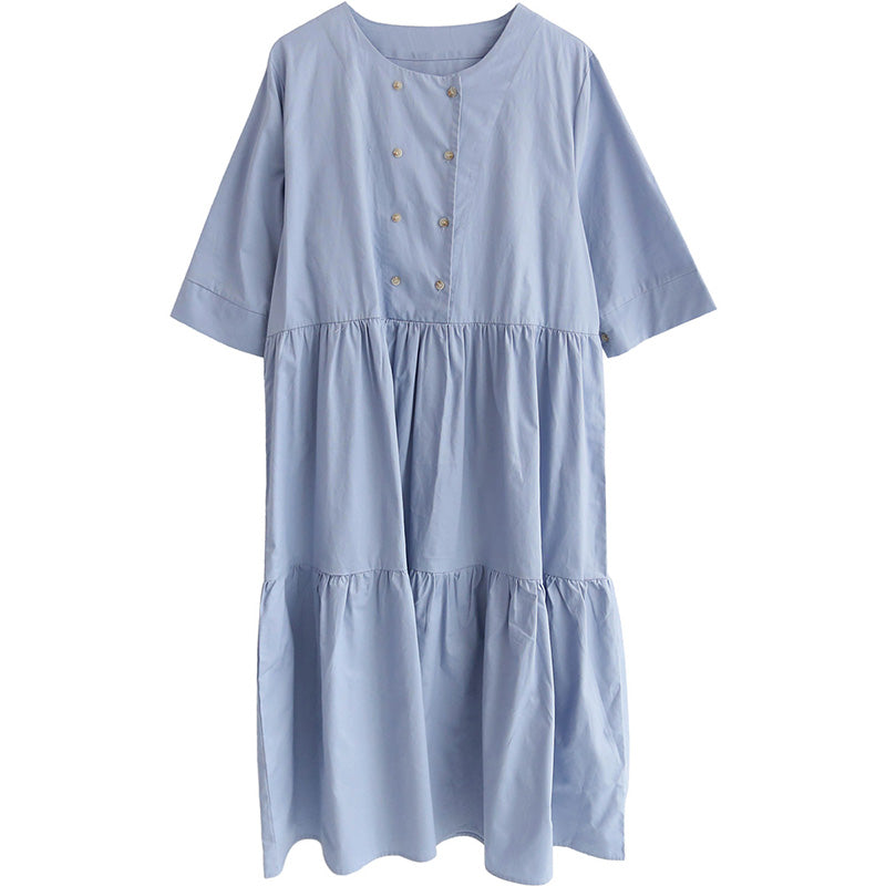 spring new Korean version of the Japanese fresh round neck short-sleeved solid color dress 590438227999#4223494327881