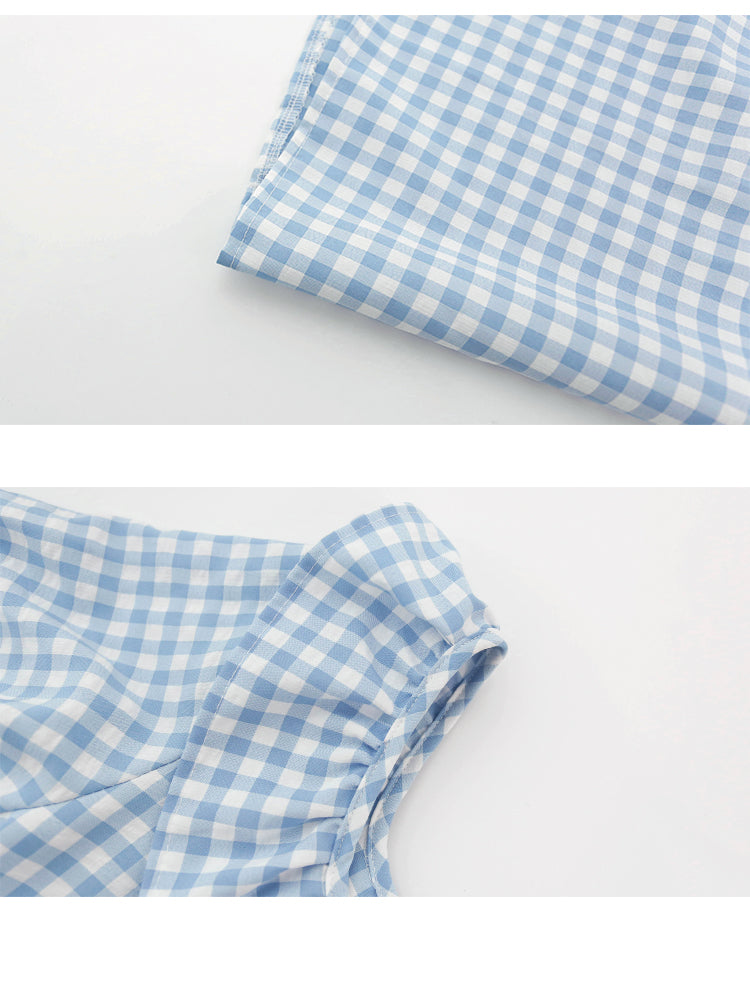 spring new Korean version of the Japanese cute plaid one shoulder dress