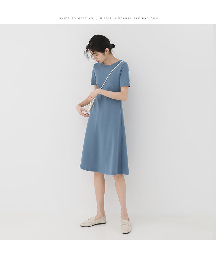 summer new retro temperament a word Slim round neck short-sleeved dress